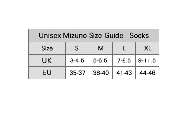 Mizuno Sock Size Guide