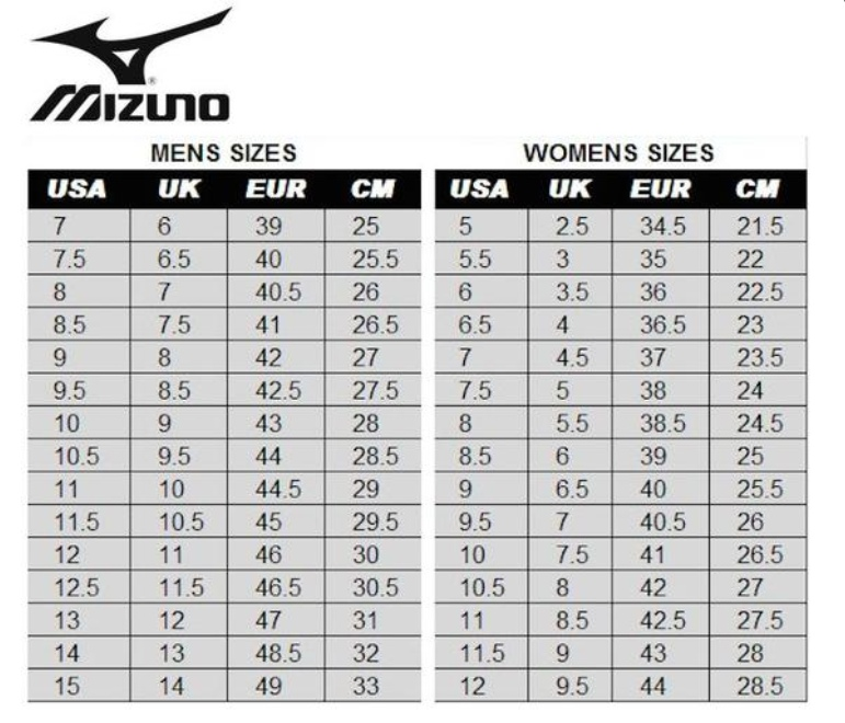 mizuno shoe size chart youth junior jacket