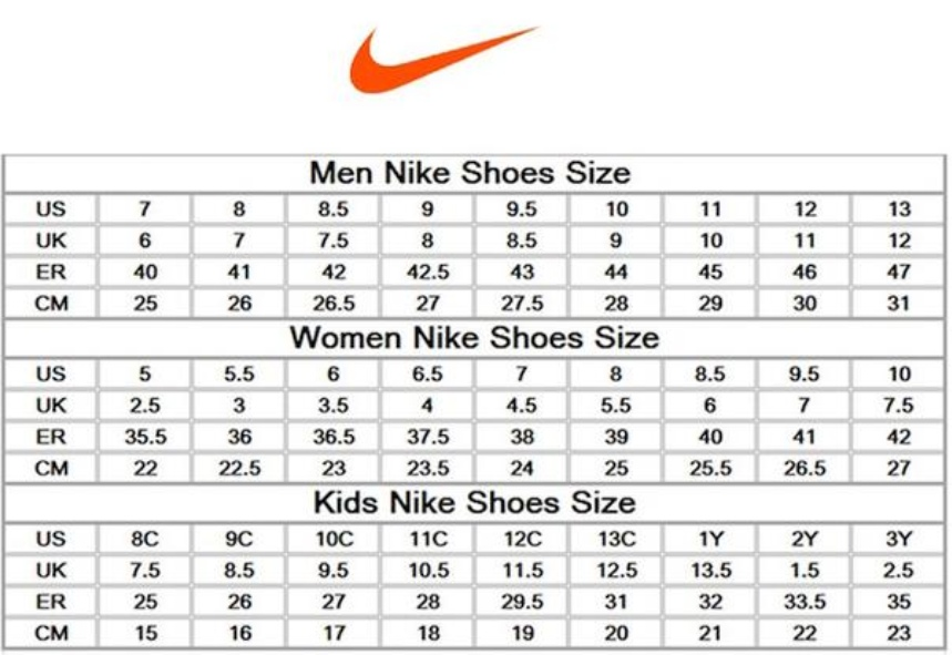 Nike Junior Golf Shoes Size Chart