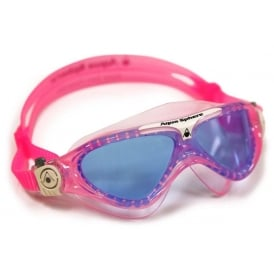 Aqua Sphere Vista Junior Swim Mask with Blue Lens, Pink/White