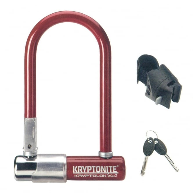 Kryptonite Kryptolok Series 2 Mini Bicycle U-Lock with Transit FlexFrame Bracket - Red