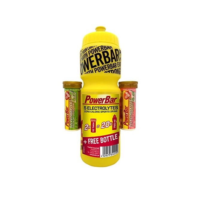 PowerBar 2x 5 Electrolyte Tabs(10 Tabs Each) + FREE 750ml Bottle