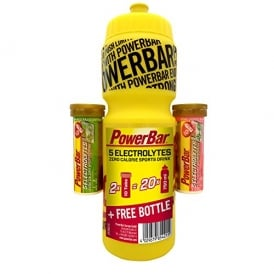 PowerBar 2x 5 Electrolyte Tabs(10 Tabs Each) + FREE 750ml Powerbar Bottle