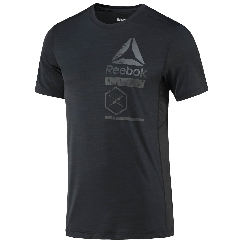 b31b4654 Reebok Men's ACTIVCHILL Zoned Graphic Tee Black - Running from The ...