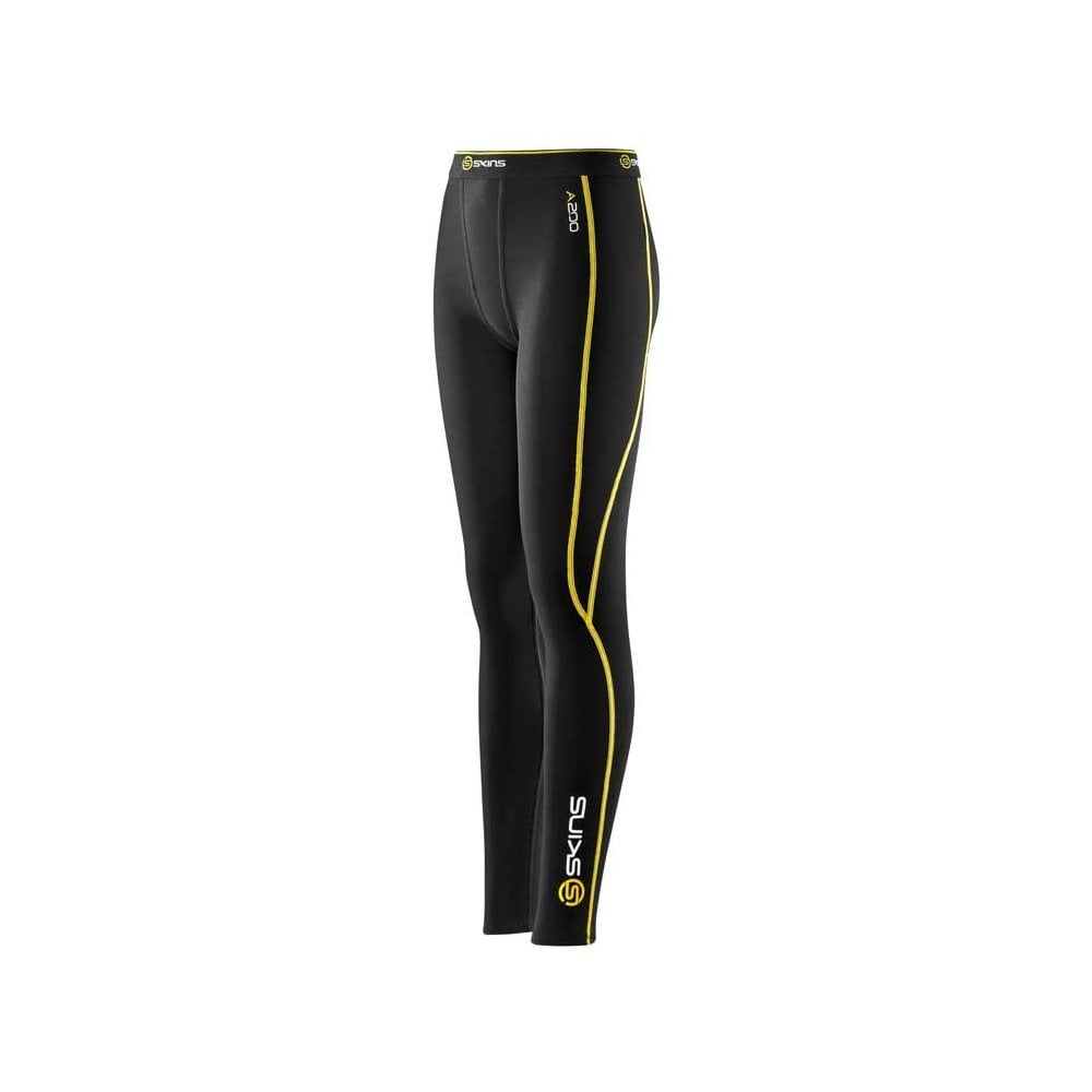 Black // Yellow Skins Compression A400 Youth Long Tights FREE POSTAGE