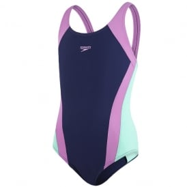 Speedo Girl's Contrast Panel Splashback Swimsuit