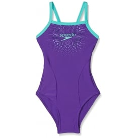 Speedo Girl's Gala Logo Thinstrap Muscleback Swimsuit