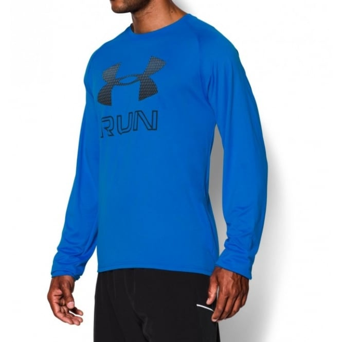 UNDER ARMOUR Big Logo reflective Run Long Sleeve Tee - Blue Jet/Black Jacket